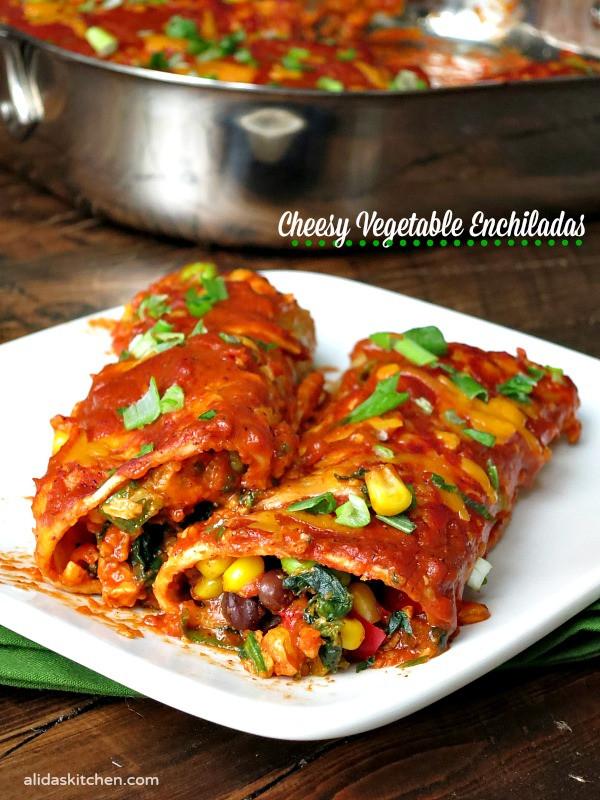 Easy Vegetarian Enchiladas  Cheesy Ve able Enchiladas SundaySupper