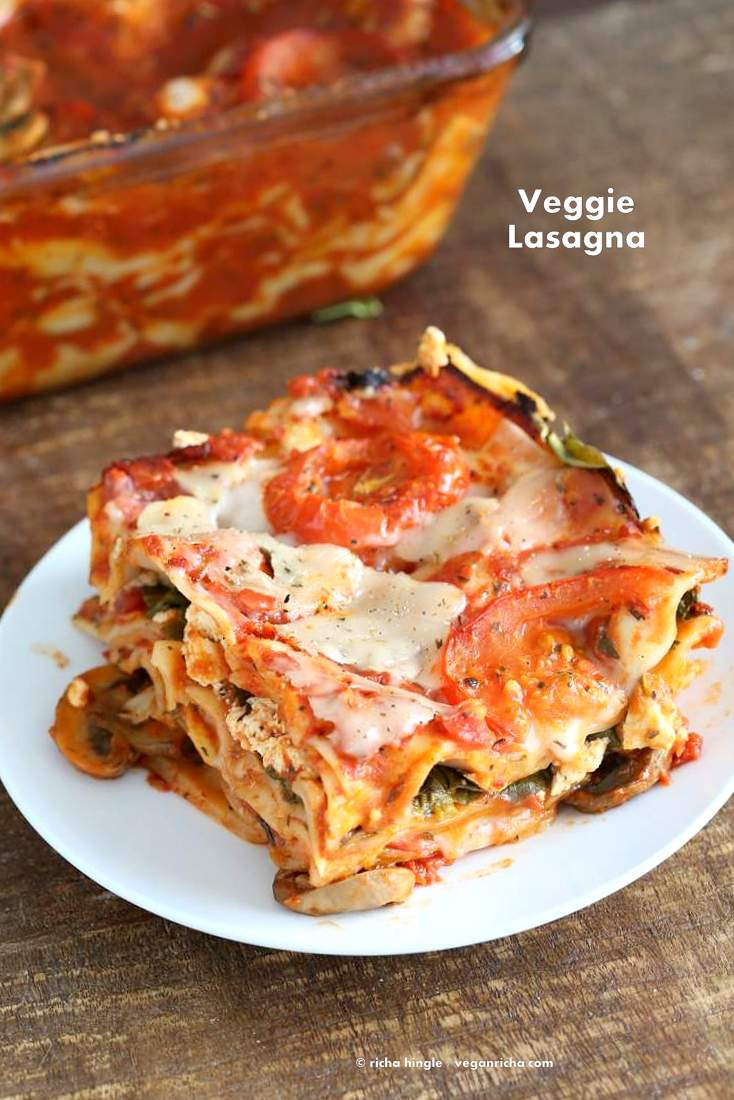 Easy Vegetarian Lasagna  Vegan Veggie Lasagna for 2 Vegan Richa