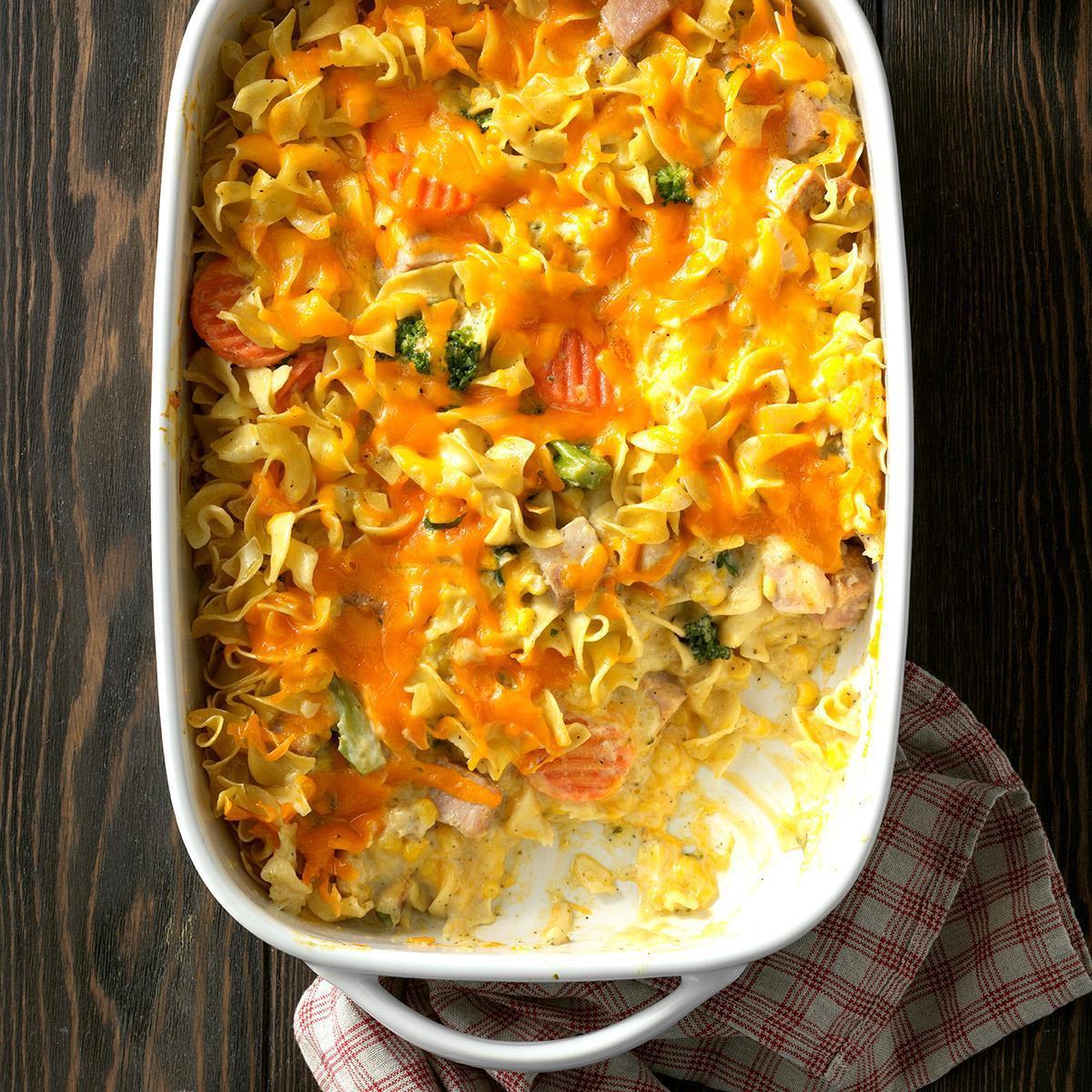 Egg Noodle Casserole Recipes Vegetarian  Veggie Noodle Ham Casserole Recipe