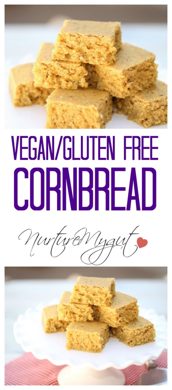 "Gluten Free Dairy Free Cornbread Recipe  Vegan Gluten Free Cornbread This recipe uses a ""flax egg"