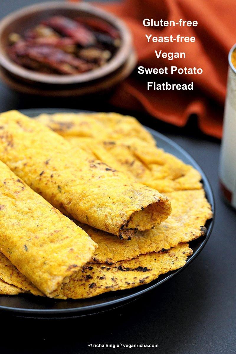 Gluten Free Indian Bread  Yeast free Sweet Potato Vegan Gluten free Flatbread