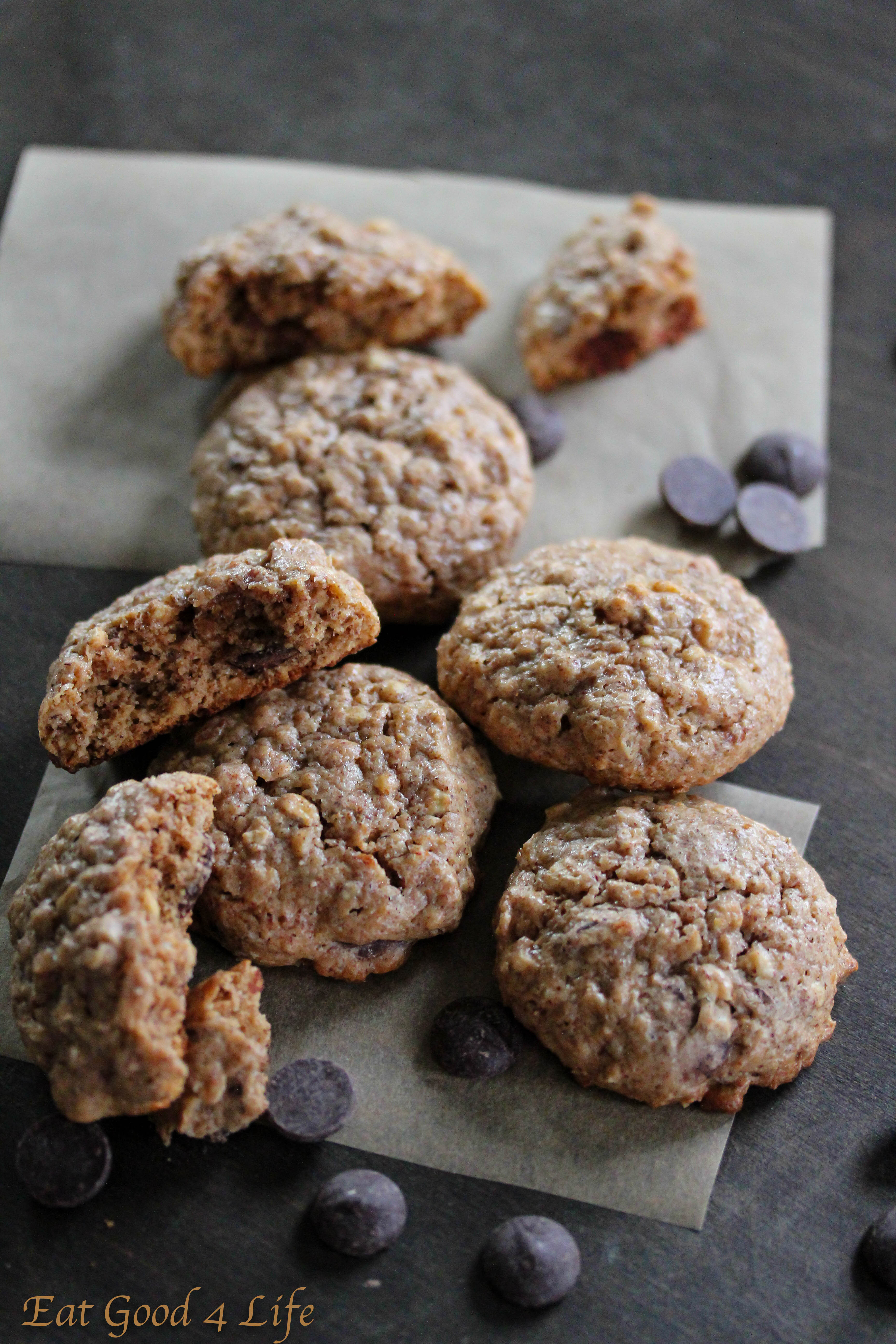 Gluten Free Oatmeal Chocolate Chip Cookies  Gluten free oatmeal almond butter and chocolate chip cookies