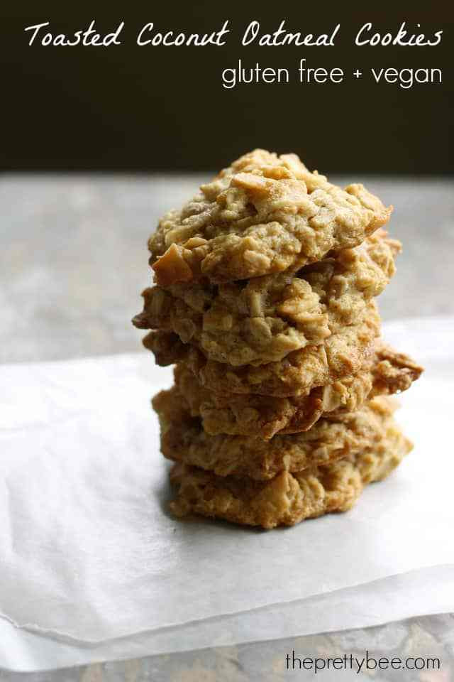 Gluten Free Oatmeal Coconut Cookies  Chewy Toasted Coconut Oatmeal Cookies The Pretty Bee