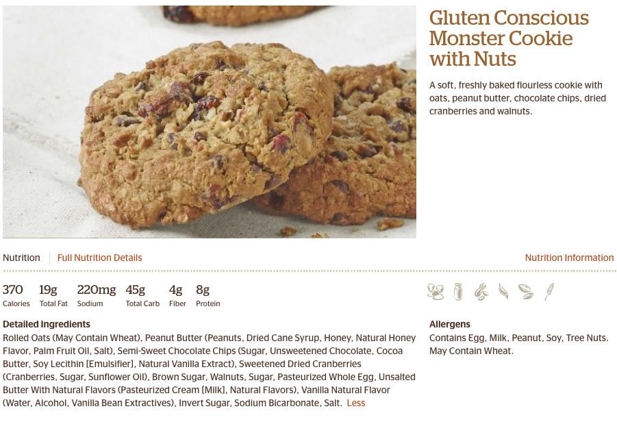 Gluten Free Panera Bread Menu  Panera Nutrition Gluten Free Cookie