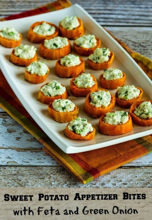 Gluten Free Thanksgiving Appetizers  Sweet Potato Appetizer Bites with Feta and Green ion