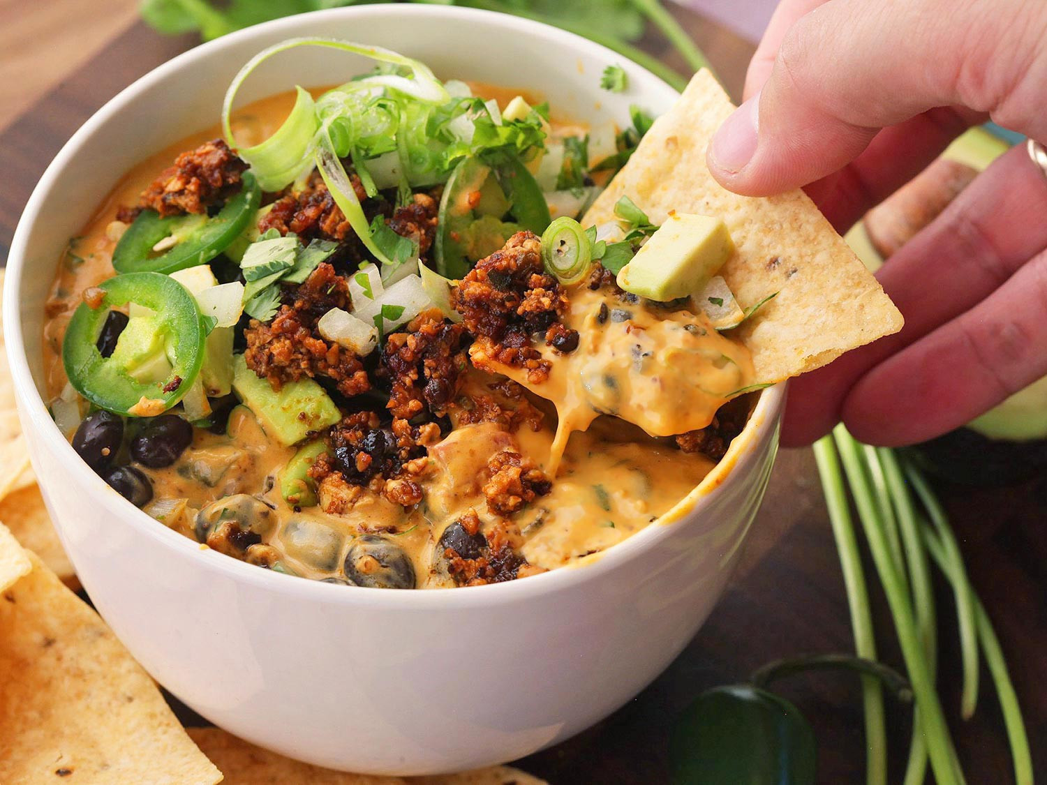 Good Vegan Dinners  The Ultimate Vegan Party Food Fully Loaded Queso Dip