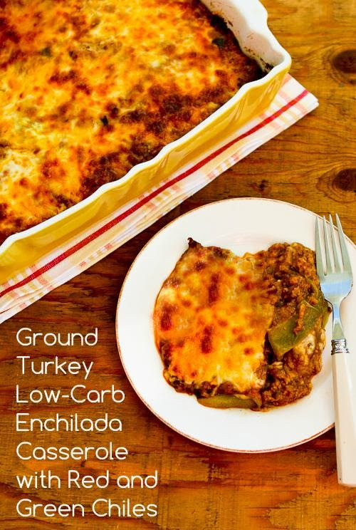 Ground Turkey Casserole Low Carb  Ground Turkey Low Carb Enchilada Casserole with Red and