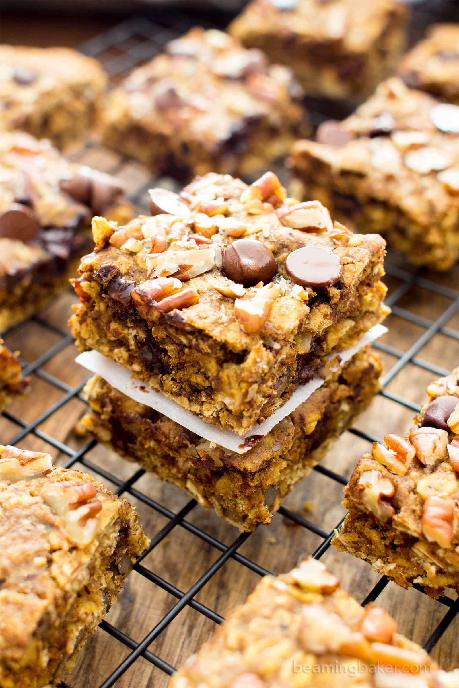 Healthy Breakfast Bars  Gluten Free Pumpkin Chocolate Chip Oatmeal Breakfast Bars