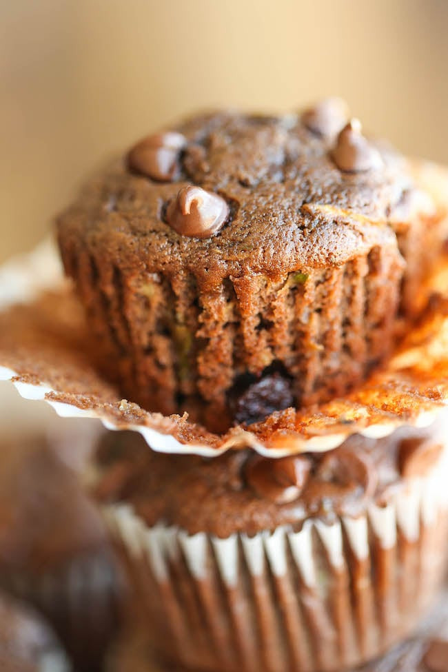 Healthy Chocolate Chip Zucchini Muffins  Double Chocolate Chip Zucchini Muffins