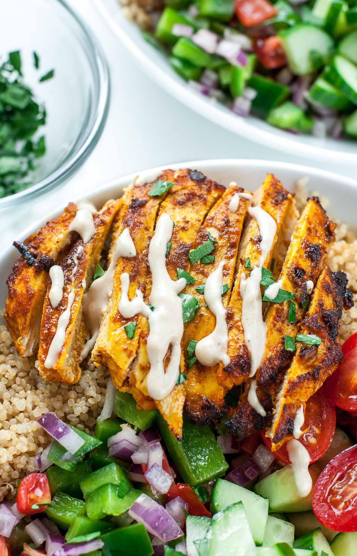 Healthy Dinner Ideas With Chicken  Healthy Chicken Shawarma Quinoa Bowls Peas And Crayons