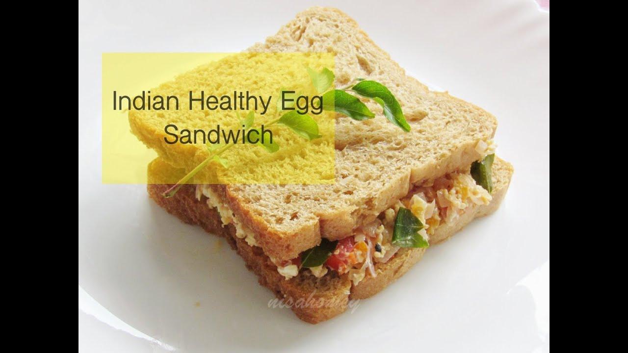 Healthy Egg Breakfast Sandwich  Indian Style Healthy Egg Sandwich Recipe Egg Bhurji