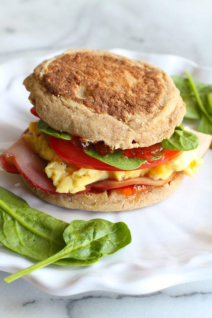 Healthy Egg Breakfast Sandwich  Egg Breakfast Sandwich Recipe with Pepper Jelly & Spinach