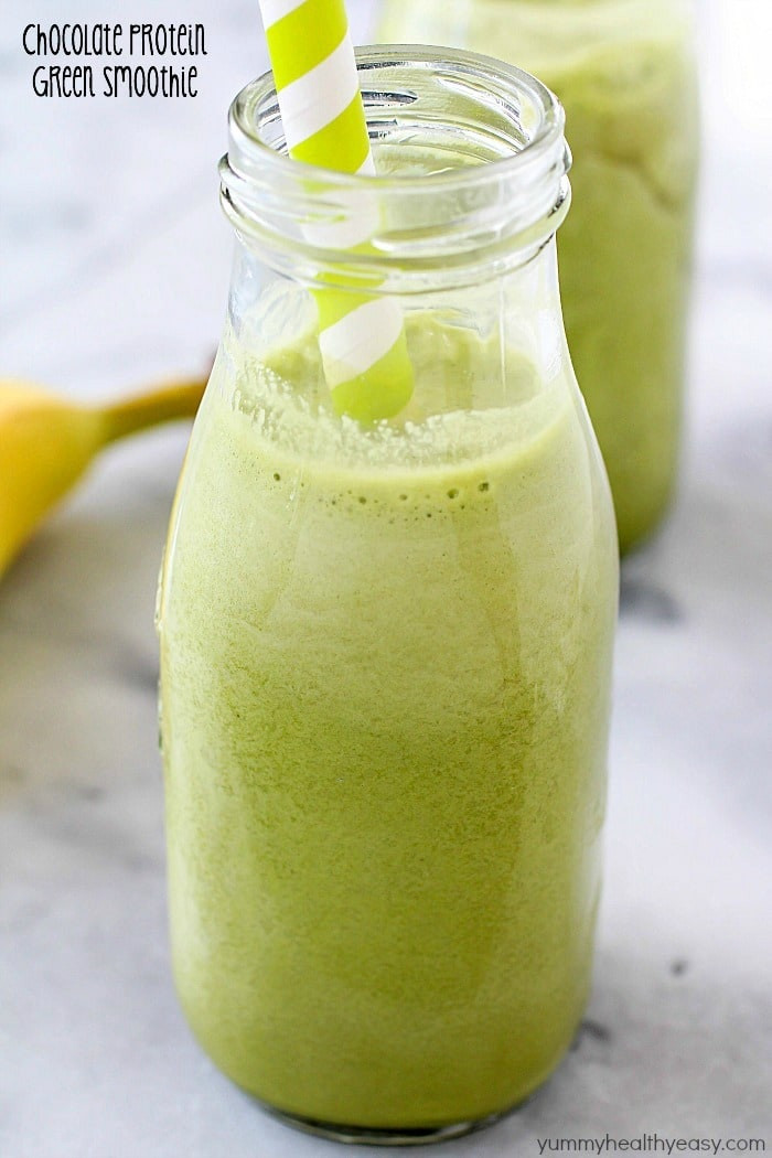 Healthy Filling Smoothies  Chocolate Protein Green Smoothie Yummy Healthy Easy