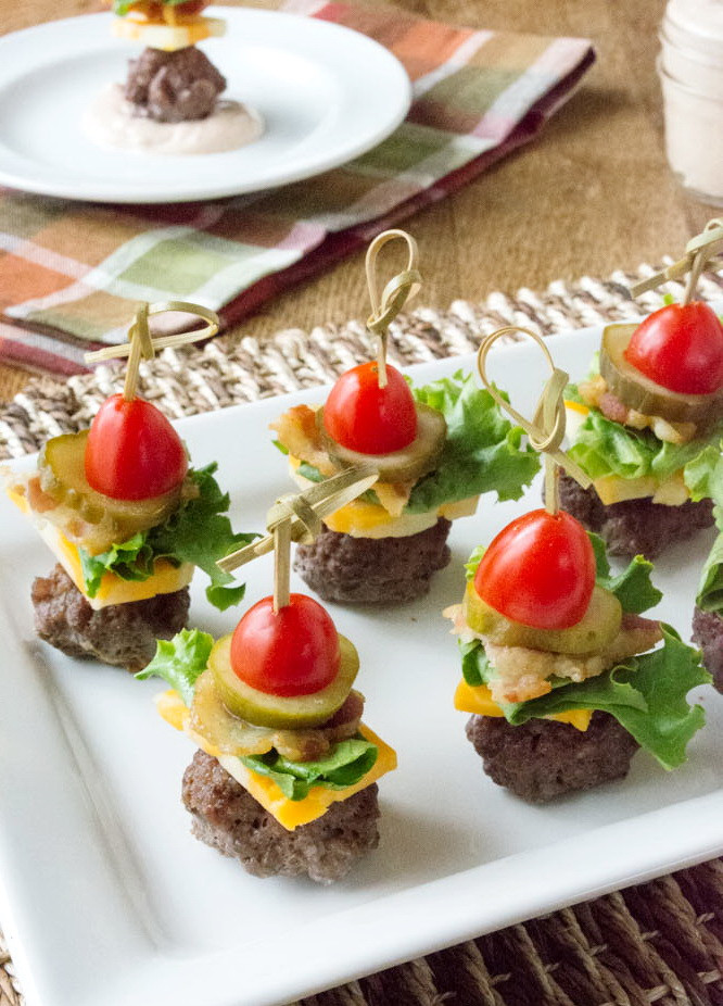 Healthy Party Snacks  Cheesy Ground Beef BLT Bite – Cheap & Easy Healthy Party