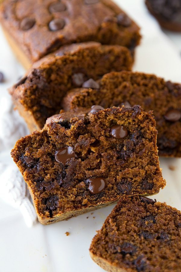 Healthy Pumpkin Chocolate Chip Bread  The BEST Healthy Greek Yogurt Pumpkin Bread