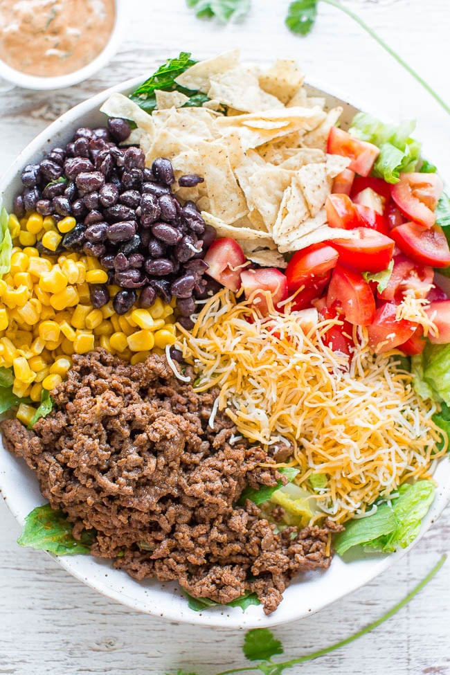 Healthy Recipes For Ground Beef  Loaded Beef Taco Salad