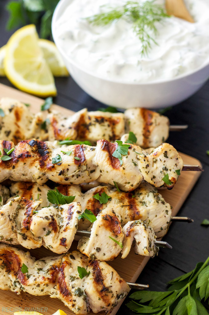 Healthy Sauces For Chicken  Greek Lemon Chicken Skewers with Tzatziki Sauce Recipe