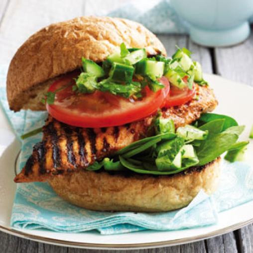 Healthy Side Dishes For Burgers  Tandoori chicken burger