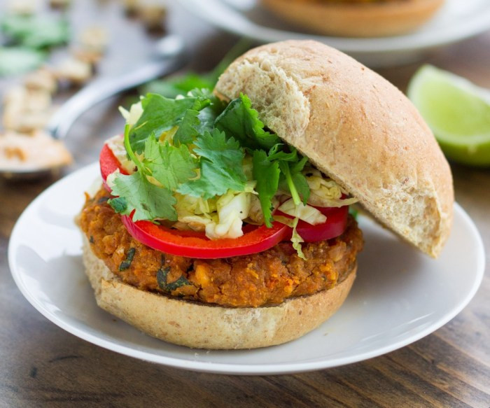 Healthy Side Dishes For Burgers  Spicy Thai Peanut Veggie Burgers Recipe Food Republic