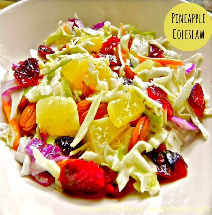 """Healthy Side Dishes For Burgers  This simply delicious """"Pineapple Coleslaw"""" is light tangy"""