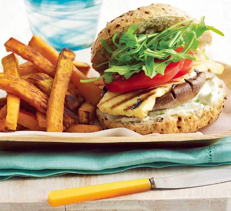 Healthy Side Dishes For Burgers  Mushroom halloumi & rocket burgers