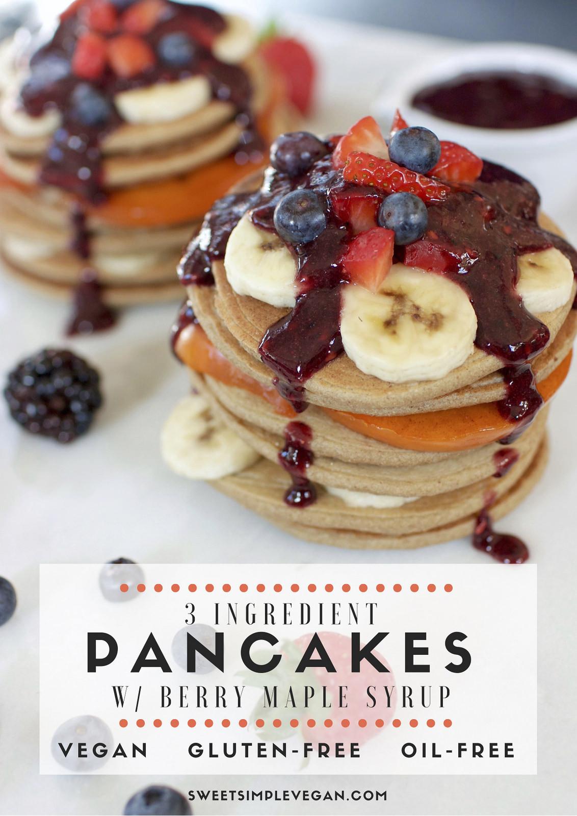 Healthy Vegan Pancakes  Healthy 3 Ingre nt Vegan Pancakes gluten & oil free