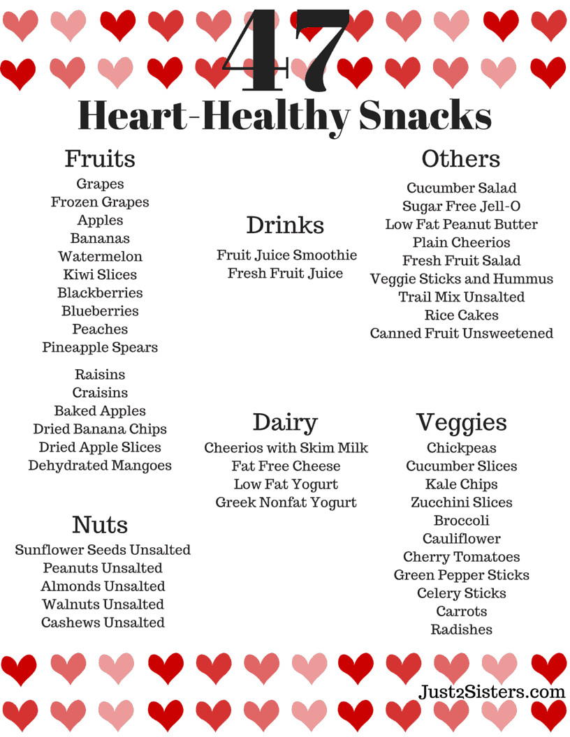 Heart Healthy And Diabetic Recipes  47 Heart Healthy Snack Ideas Just 2 Sisters