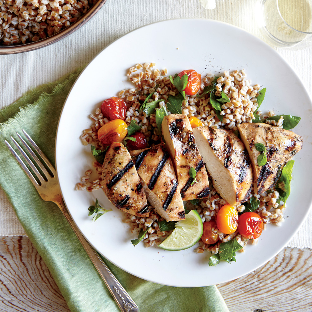 Heart Healthy Baked Chicken Recipes  Herbed Wheat Berry & Roasted Tomato Salad & Grilled