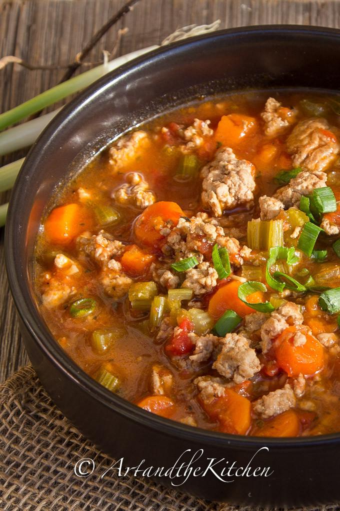 Heart Healthy Ground Turkey Recipes  Italian Turkey Burger Soup
