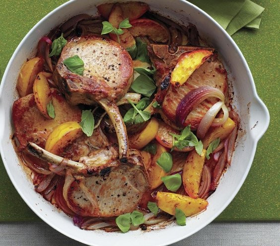 Heart Healthy Pork Chop Recipes  Roasted Pork Chops and Peaches