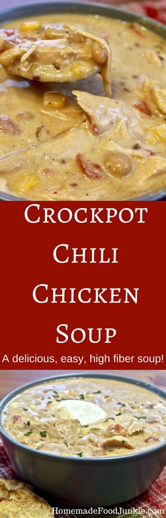 High Fiber Chicken Recipes  Crockpot Chili Chicken Soup A delicious easy high fiber