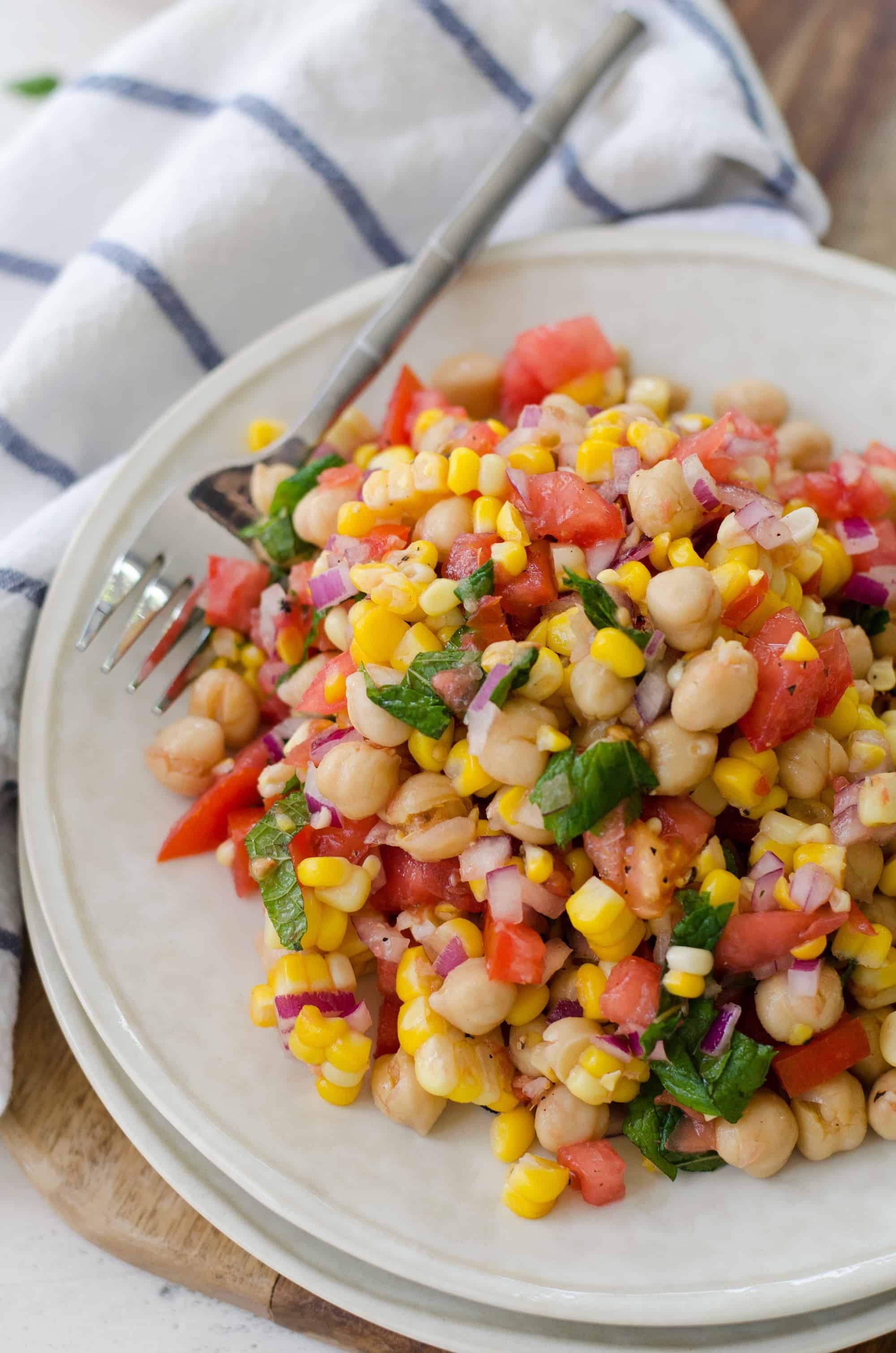High Fiber Side Dishes  Corn Tomato and Mint Salad Delish Knowledge