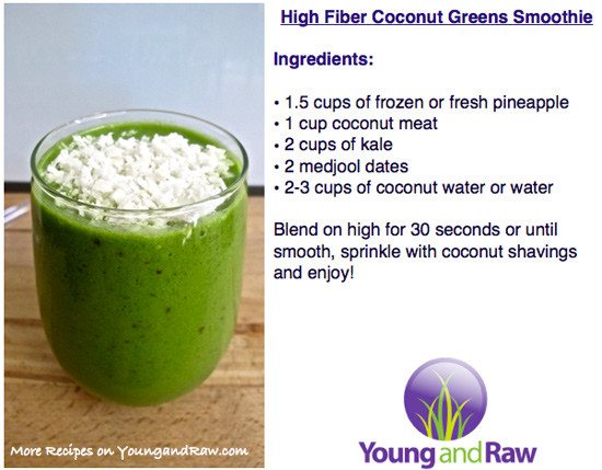 High Fiber Smoothies  High Fiber Coconut n Greens Smoothie Young and Raw