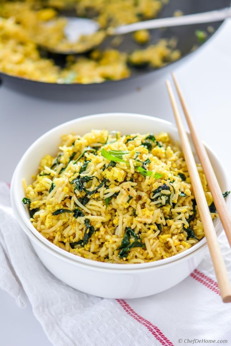 Is Fried Rice Vegan  Vegan Tofu Scramble Kale Fried Rice Recipe