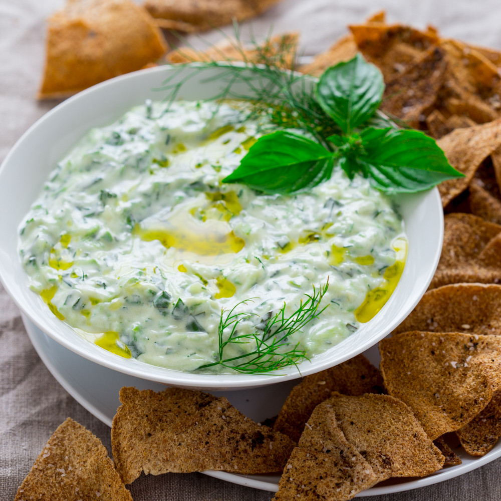 Is Tzatziki Sauce Healthy  tzatziki with za atar pita chips Healthy Seasonal Recipes
