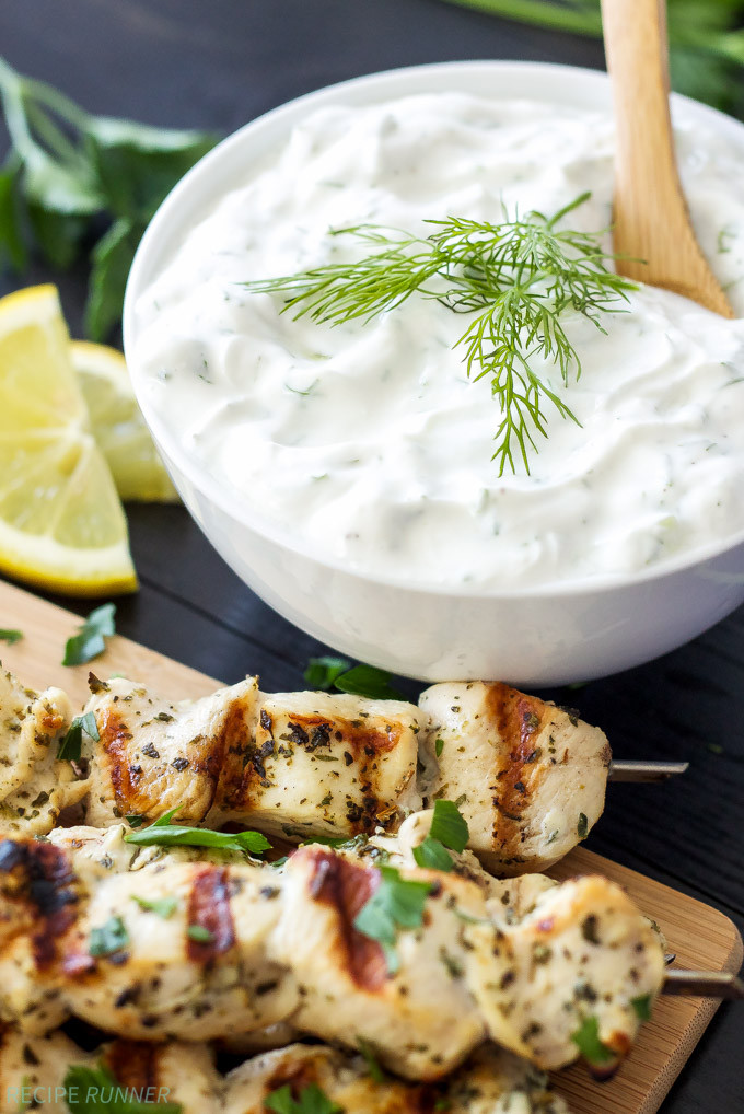Is Tzatziki Sauce Healthy  Greek Lemon Chicken Skewers with Tzatziki Sauce Recipe
