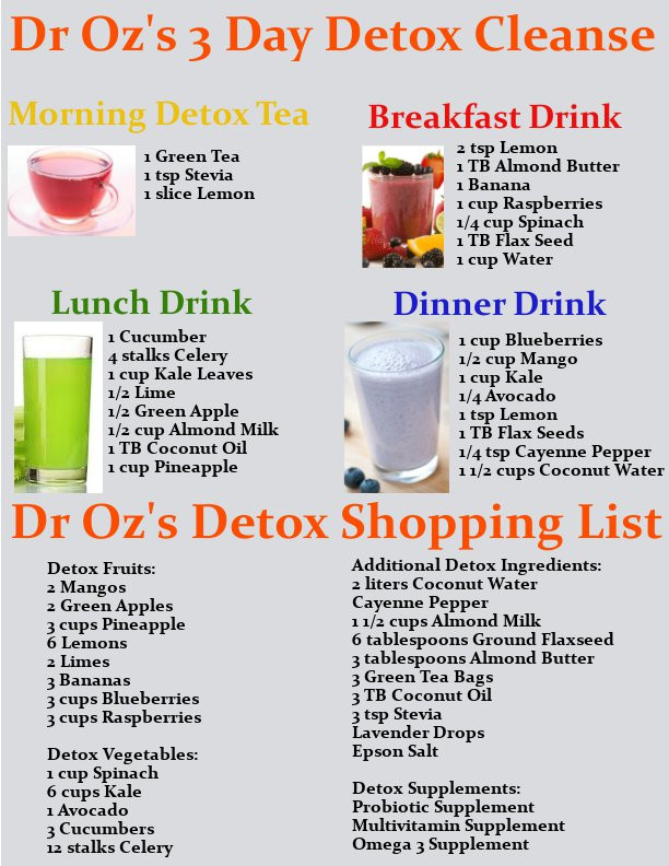 Juicing Recipes For Weight Loss Dr Oz  Dr Oz s 3 Day Detox Cleanse Drink Recipes & Printable