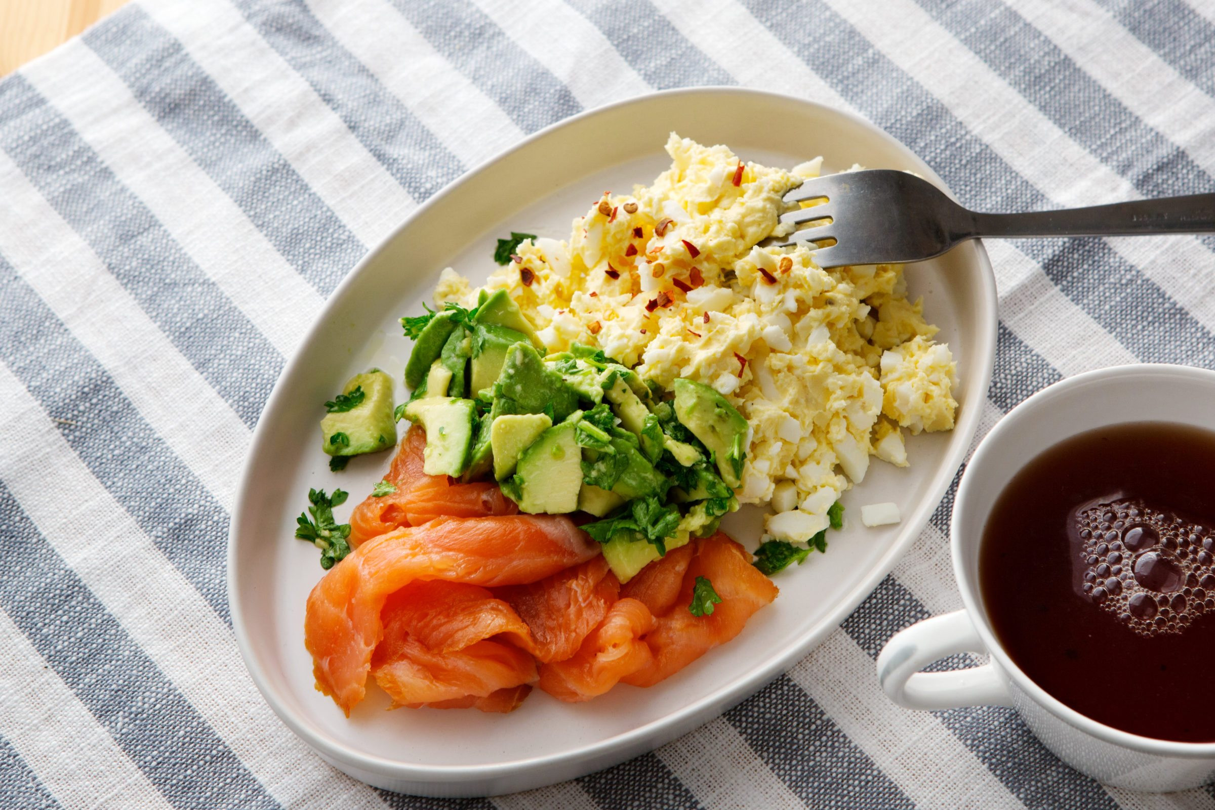 Keto Breakfast Ideas No Eggs  Keto egg butter with smoked salmon and avocado Diet Doctor