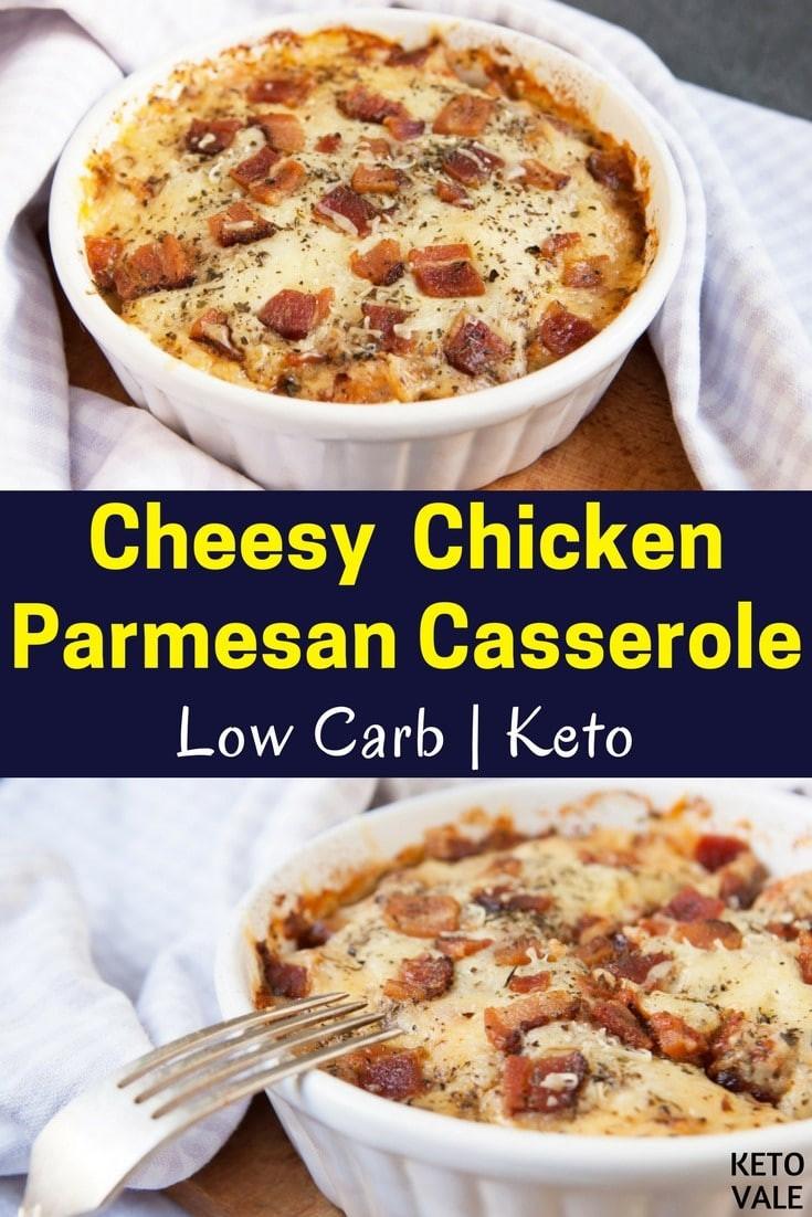 Keto Cheesy Chicken Casserole  Keto Cheesy Chicken Parmesan Casserole Low Carb Recipe
