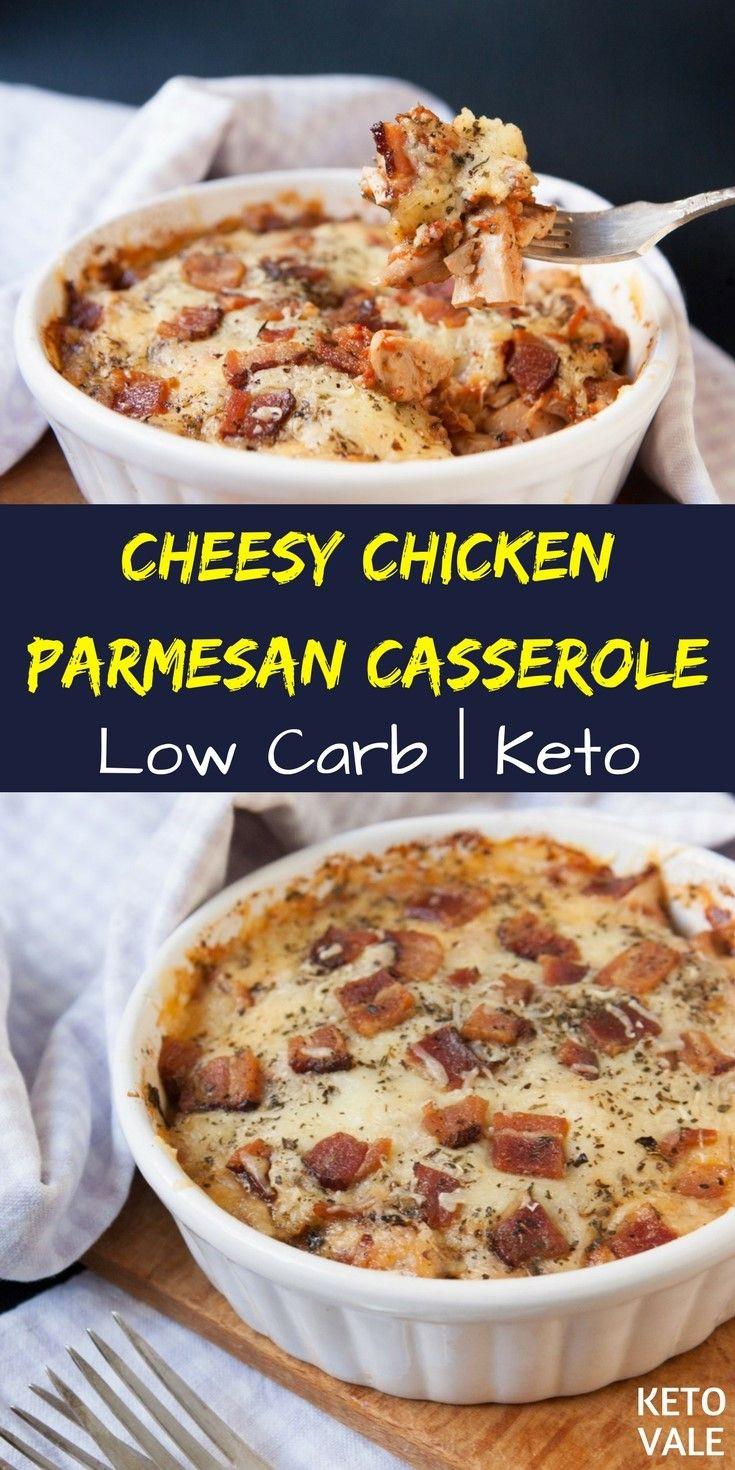Keto Cheesy Chicken Casserole  Keto Chicken Parmesan Casserole Recipe
