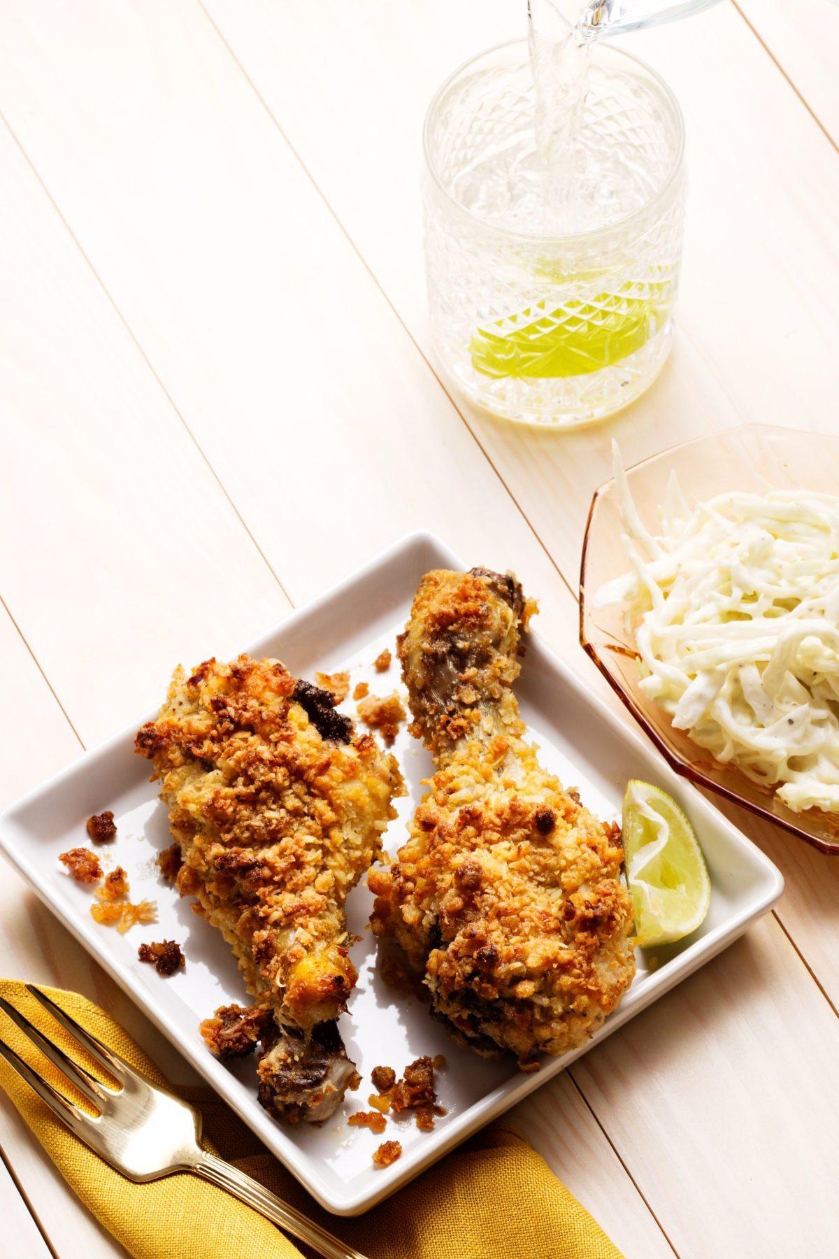 Keto Chicken Legs  Crunchy keto chicken drumsticks with coleslaw Diet Doctor