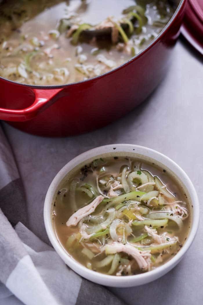 Keto Chicken Noodle Soup  Chayote Chicken Noodle Soup Recipe Low Carb KETOGASM