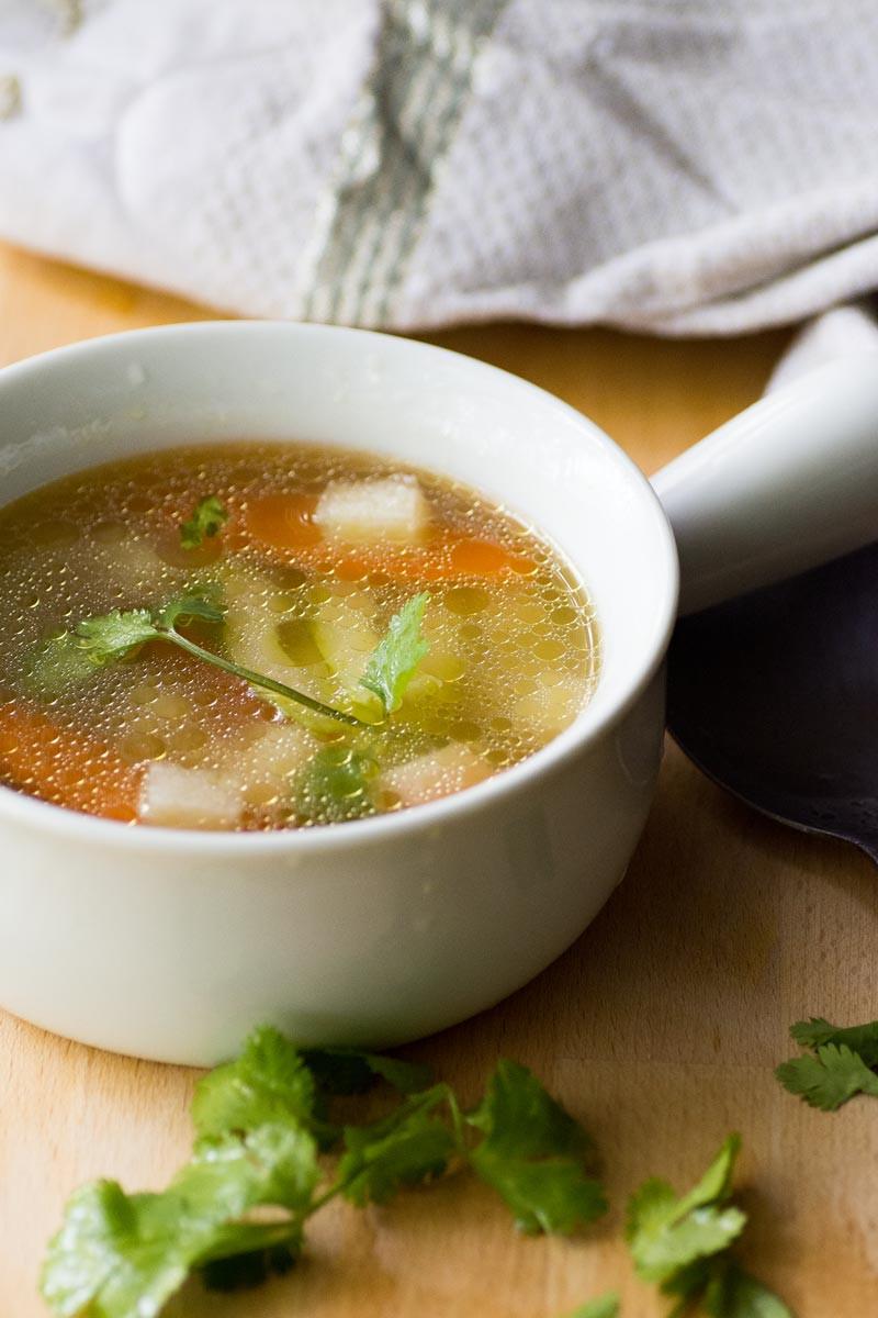 Keto Chicken Noodle Soup  Keto Chicken Soup [with Jicama Cubes] – Wanderspice