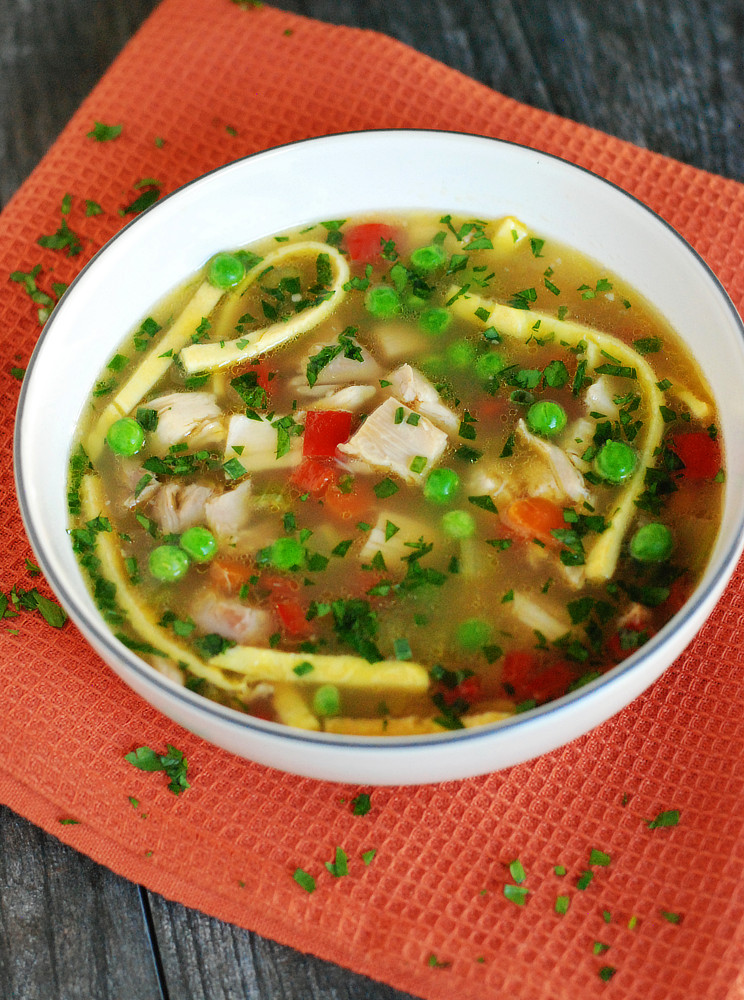 Keto Chicken Noodle Soup  Keto Chicken Soup with Egg Noodles