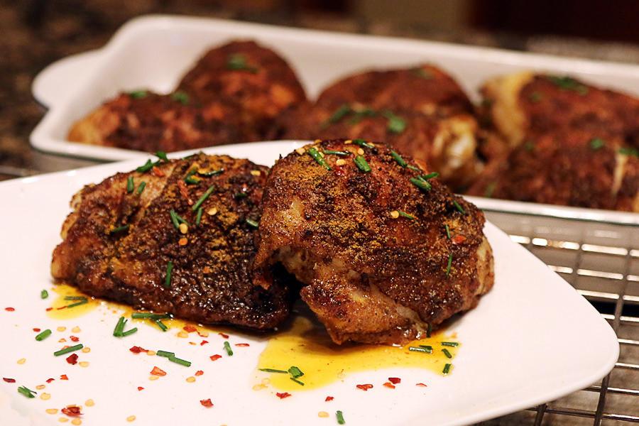 Keto Crispy Chicken Thighs  Crispy Curry Rub Chicken Thighs