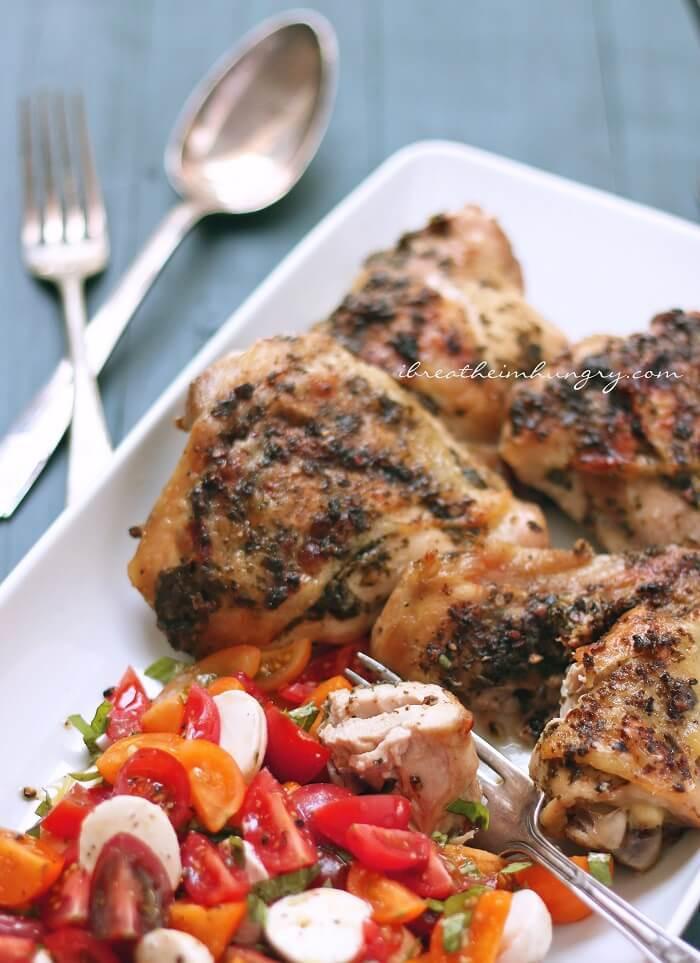 Keto Crispy Chicken Thighs  Keto Pesto Stuffed Chicken Thighs