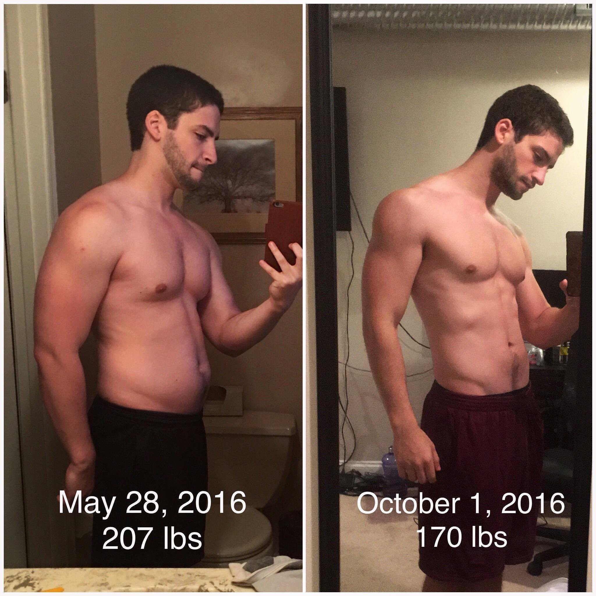 """Keto Diet And Weight Lifting  M 23 5 10"""" [207lb 170lb = 37lb] before after 4 months"""