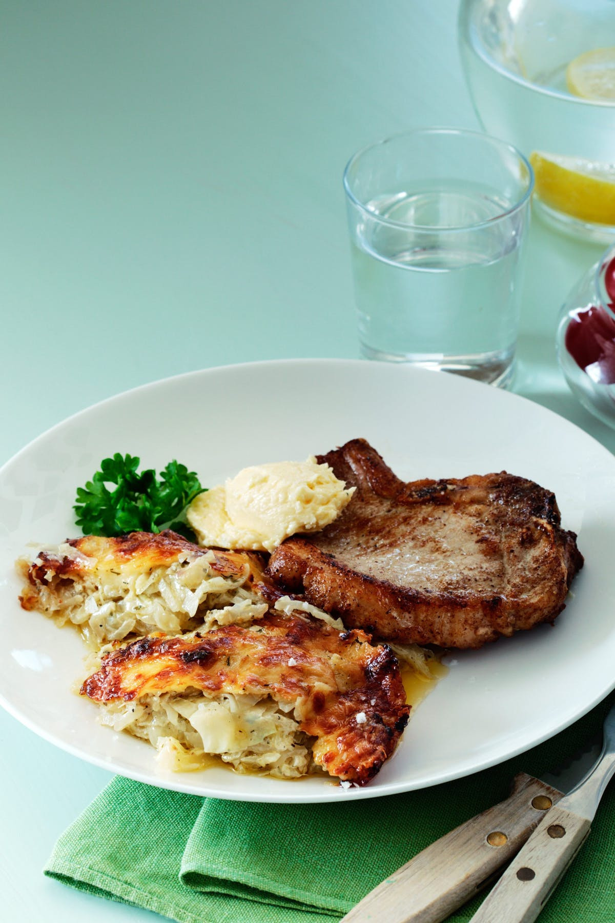 Keto Diet Pork Chops  Keto Pork Chops with Cabbage Casserole & Parmesan Butter