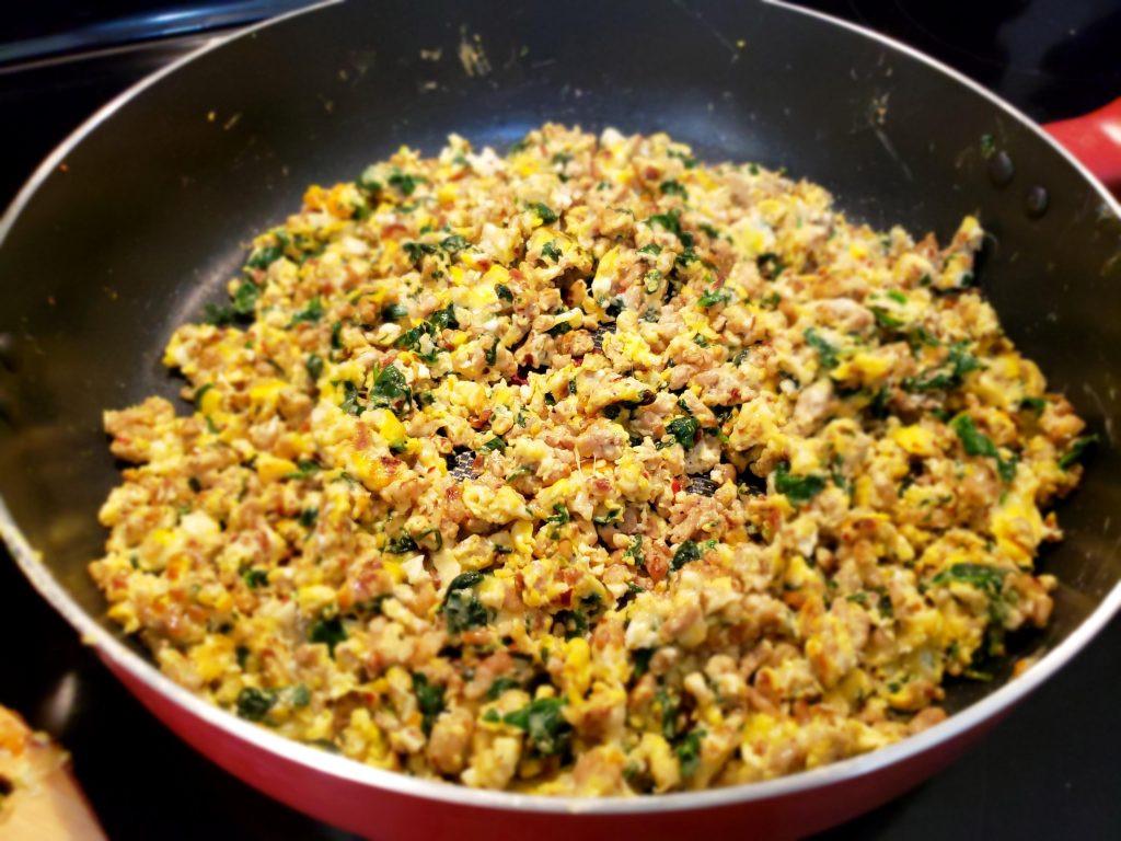 Keto Ground Turkey Recipes  Ground Turkey Spinach and Eggs The Keto Cookbook