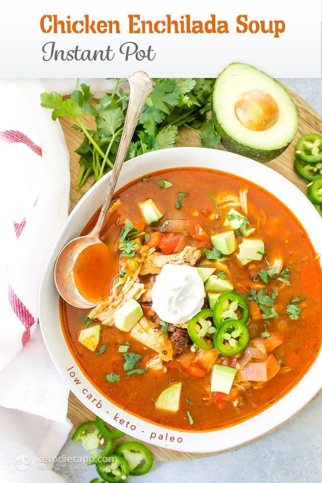Keto Instant Pot Chicken Recipes  Keto Instant Pot Chicken Enchilada Soup